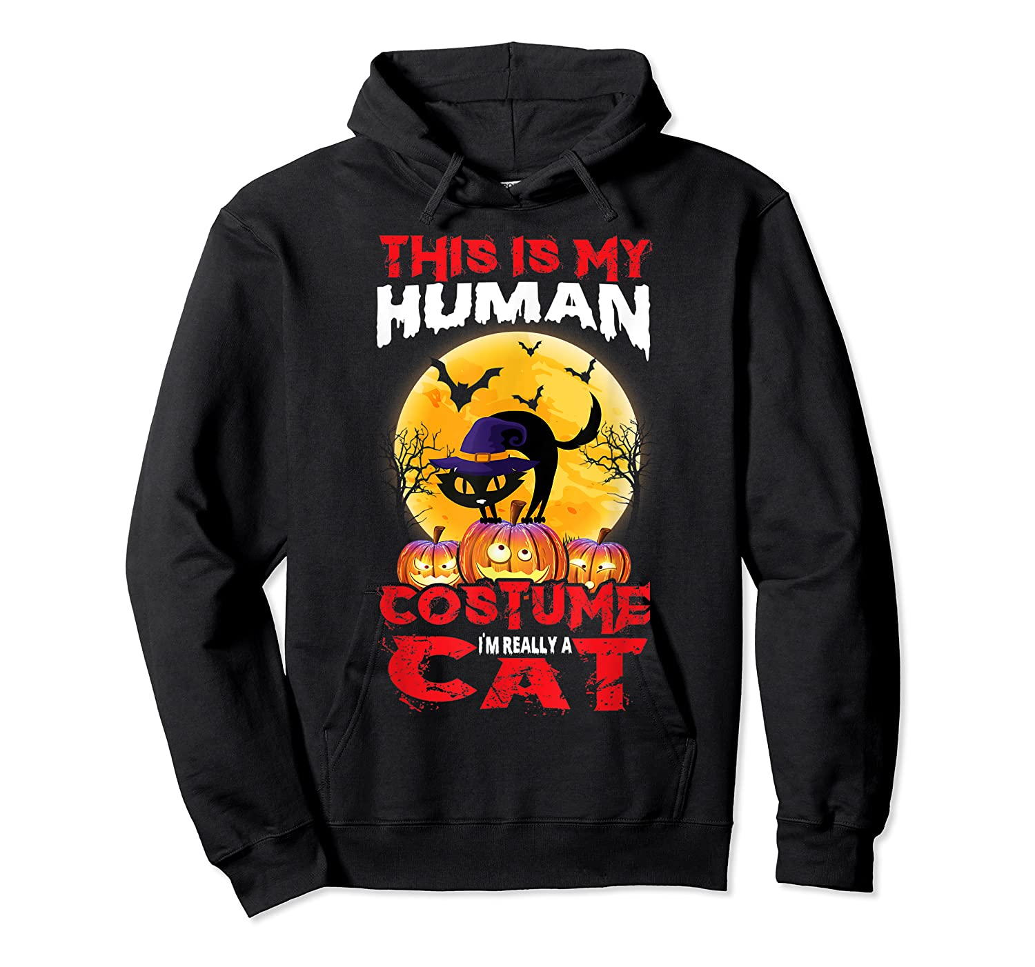 Cat Funny Halloween T-shirt For Girls Adults Unisex Pullover Hoodie
