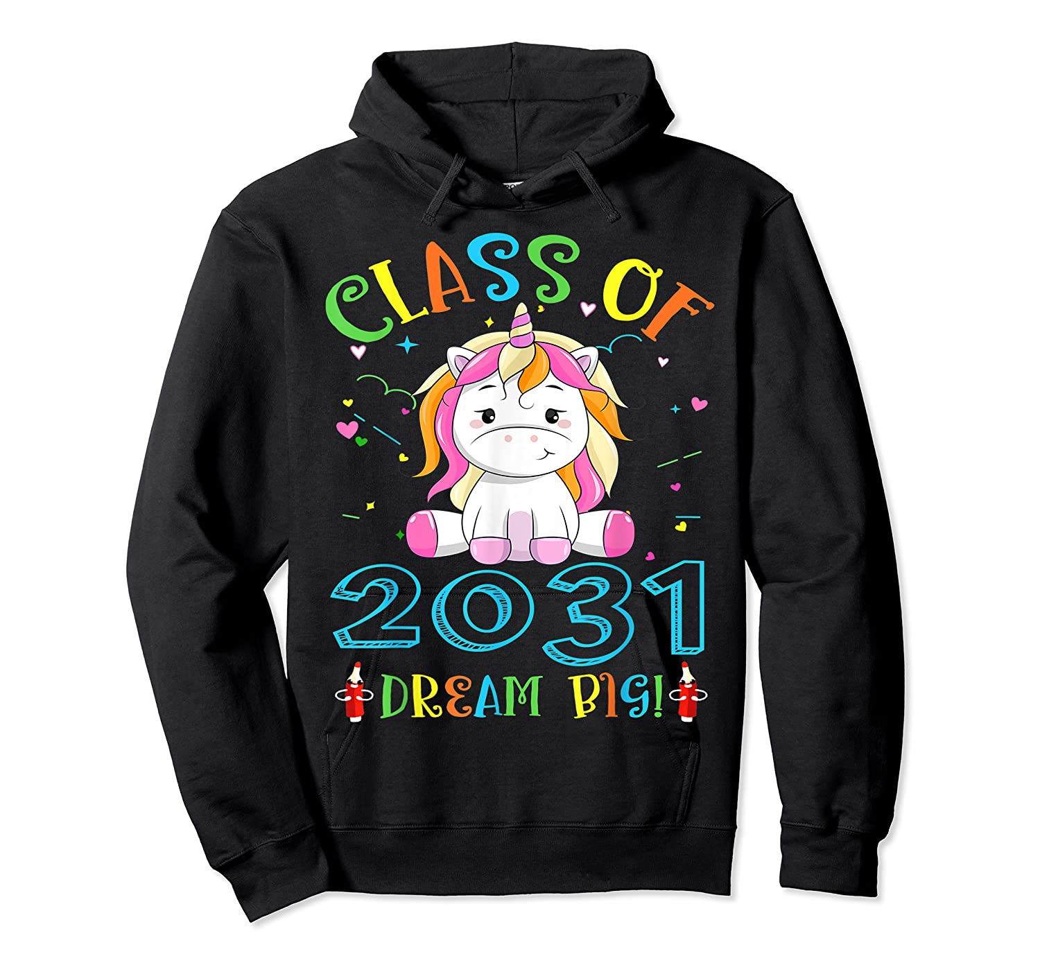 Class Of 2031 Grow With Me Unicorn Back To School Shirts Unisex Pullover Hoodie