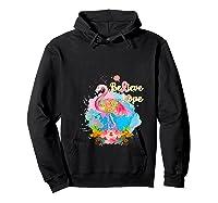 Pink Flamingo Believe Hope Breast Cancer Awareness Month T Shirt Hoodie Black