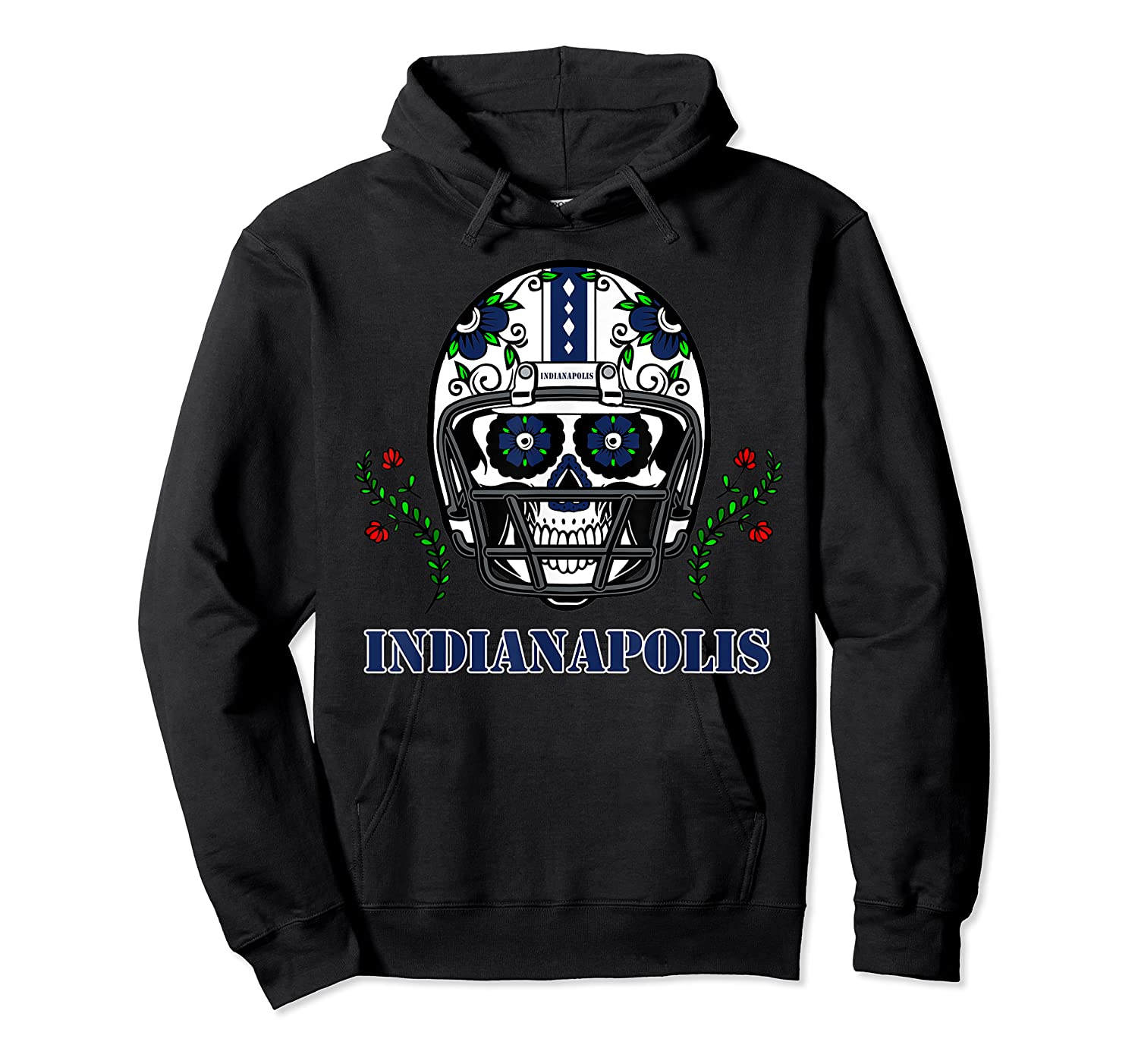 Indianapolis Football Helmet Sugar Skull Day Of The Dead T Shirt Unisex Pullover Hoodie