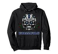 Indianapolis Football Helmet Sugar Skull Day Of The Dead T Shirt Hoodie Black