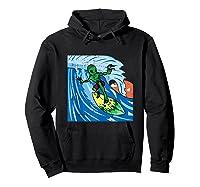 Area-51 Alien Surfing Ocean Wave Lazy Surfer Halloween Gift Tank Top Shirts Hoodie Black