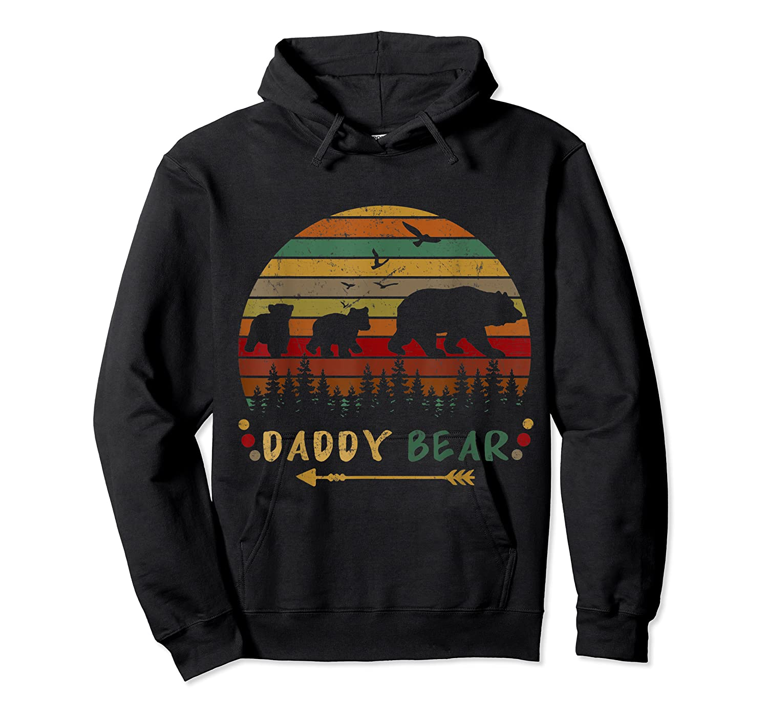 Daddy Bear With Two Cups Retro Gift For Father S Day T Shirt Unisex Pullover Hoodie