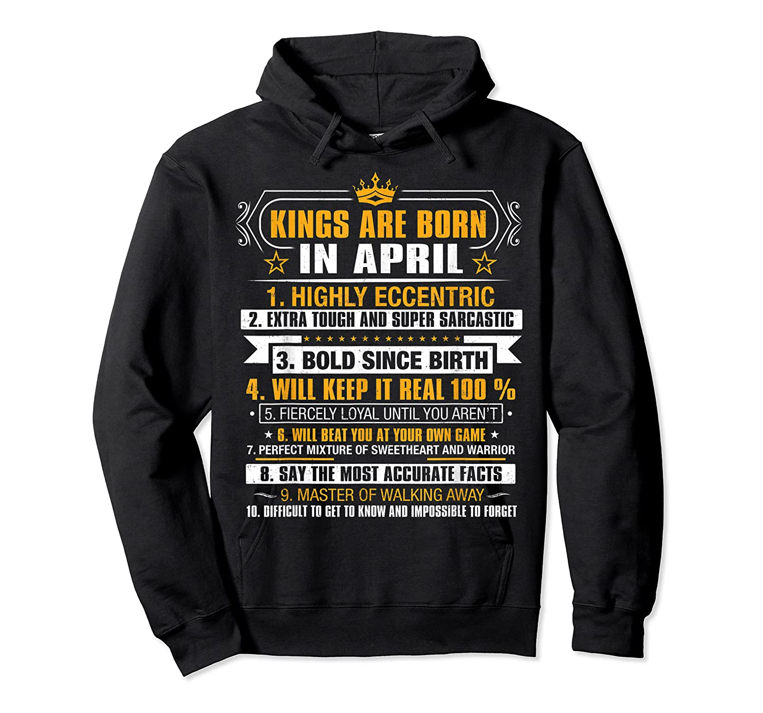 Kings Are Born In April Vintage Birthday Shirts Unisex Pullover Hoodie