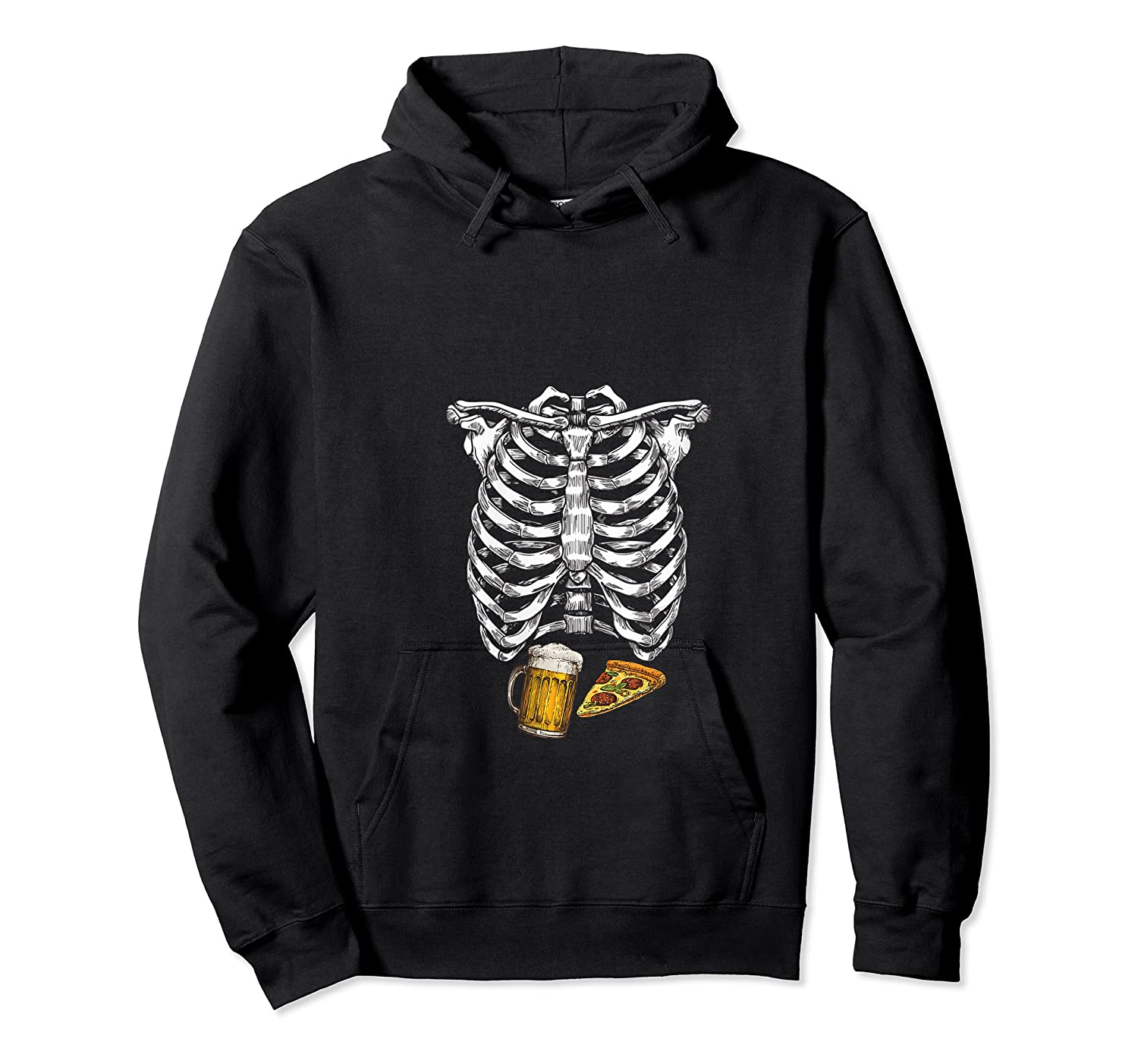 Funny Halloween Skeleton Pregnancy Pizza Beer Xray Apparel Shirts Unisex Pullover Hoodie