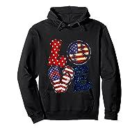 Love Softball Usa Flag 4th Of July Flip Flop Softball Usa Shirts Hoodie Black