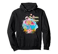 Pink Flamingo Believe Hope Breast Cancer Awareness Month Premium T Shirt Hoodie Black