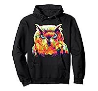 Owl Pop Art Style T Shirt Design Hoodie Black