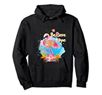 Pink Flamingo Believe Hope Breast Cancer Awareness Month Tank Top Shirts Hoodie Black