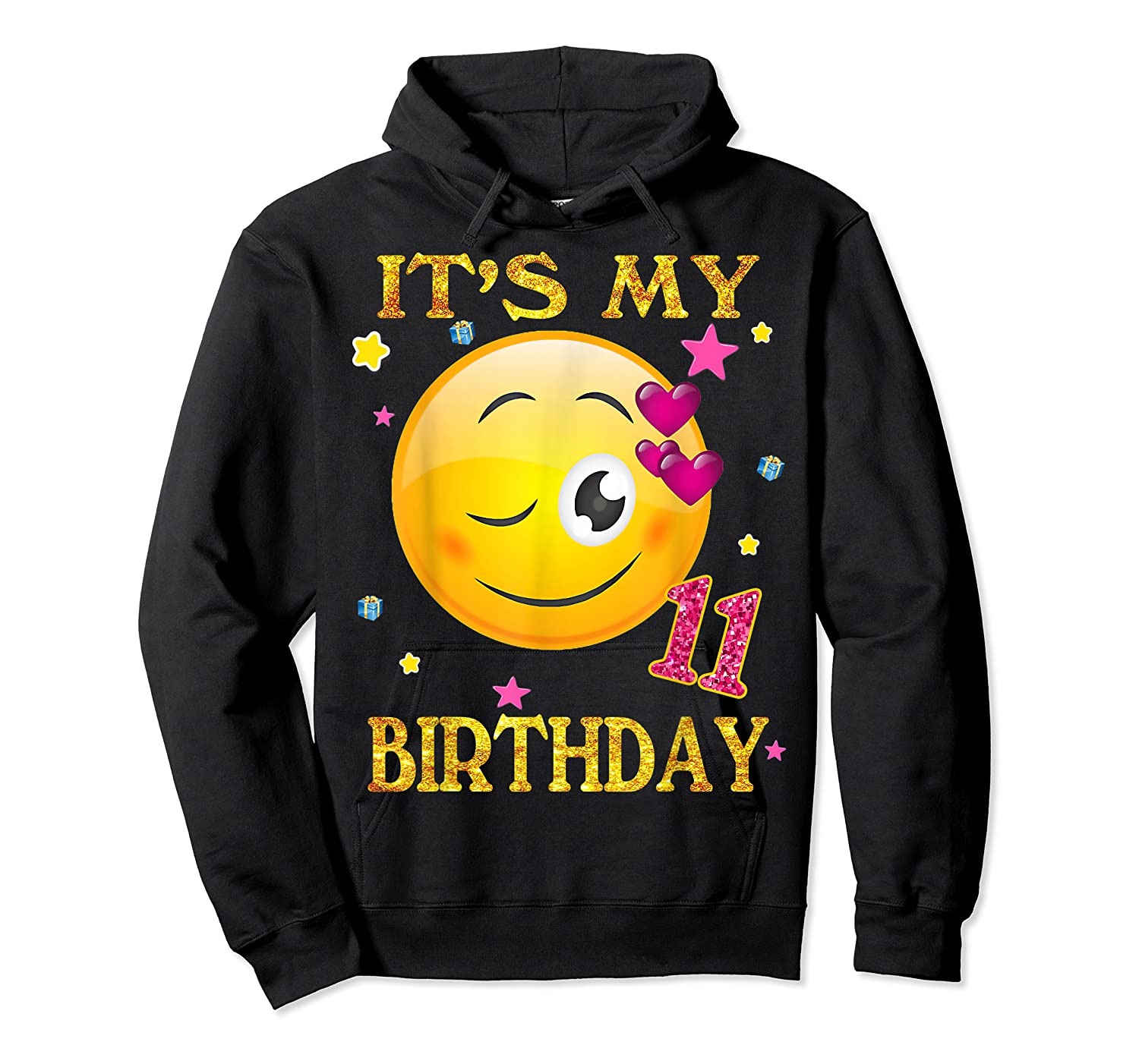 It's My 11th Birthday Girl 11 Years Old Gift Cute Face Shirts Unisex Pullover Hoodie