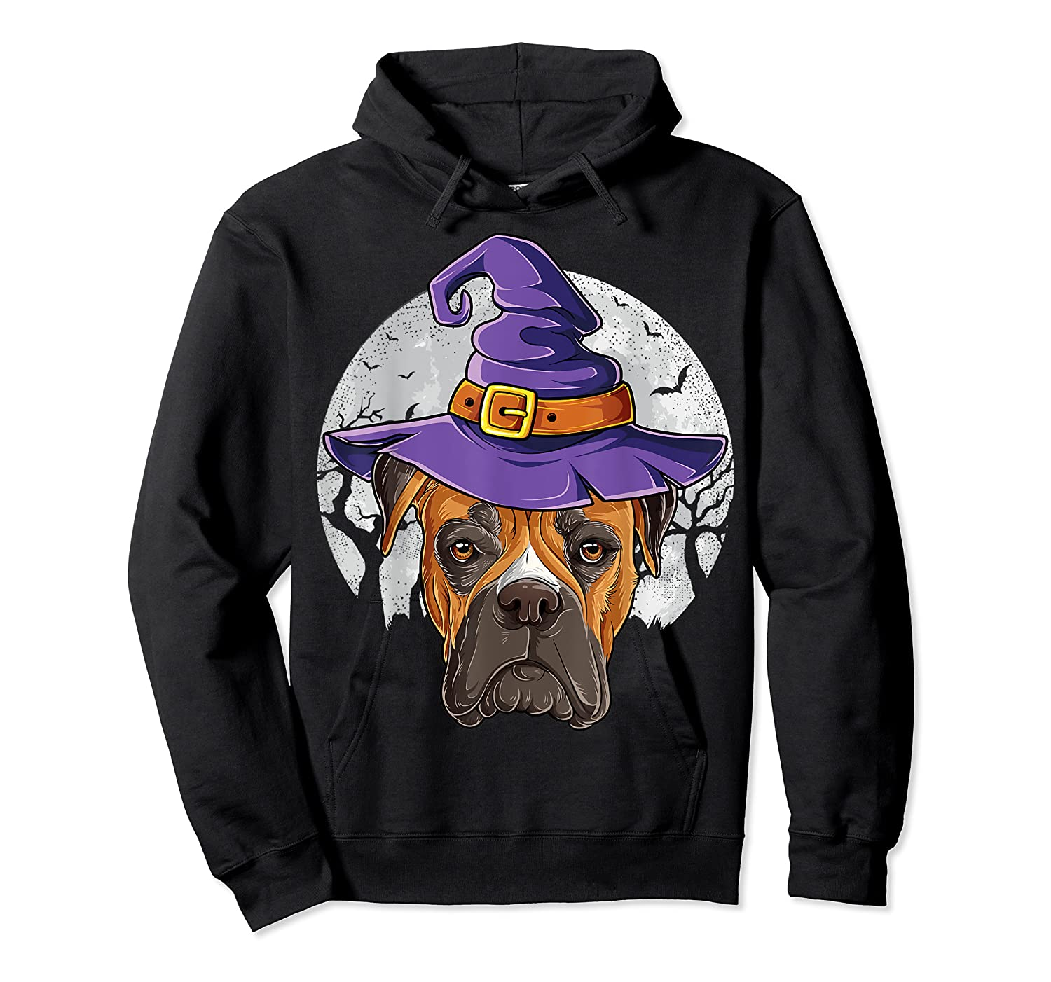 Boxer Witch Hat Funny Halloween Gifts Dog Lover Girls T-shirt Unisex Pullover Hoodie