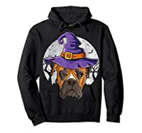 Boxer Witch Hat Funny Halloween Gifts Dog Lover Girls T-shirt Hoodie Black
