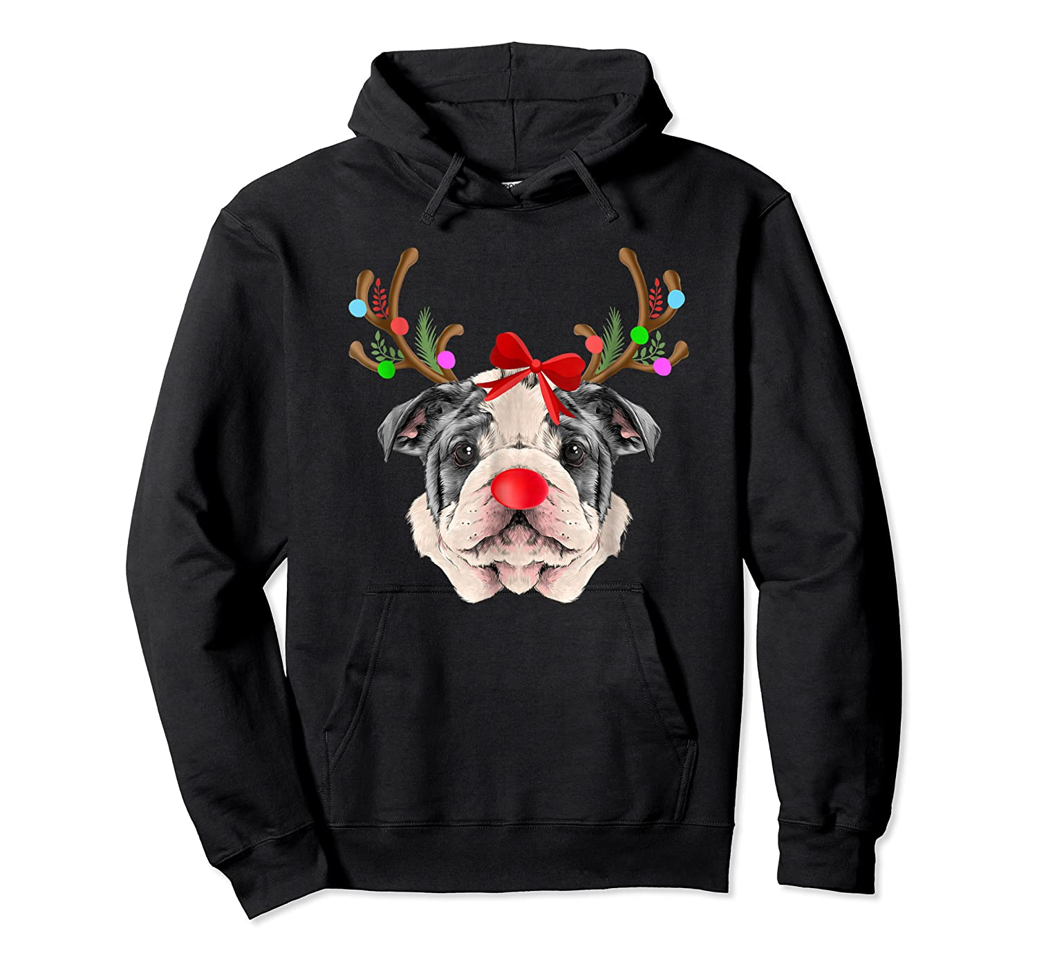Funny Bulldogs With Antlers Light Christmas Shirts Unisex Pullover Hoodie