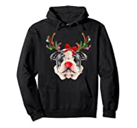 Funny Bulldogs With Antlers Light Christmas Shirts Hoodie Black