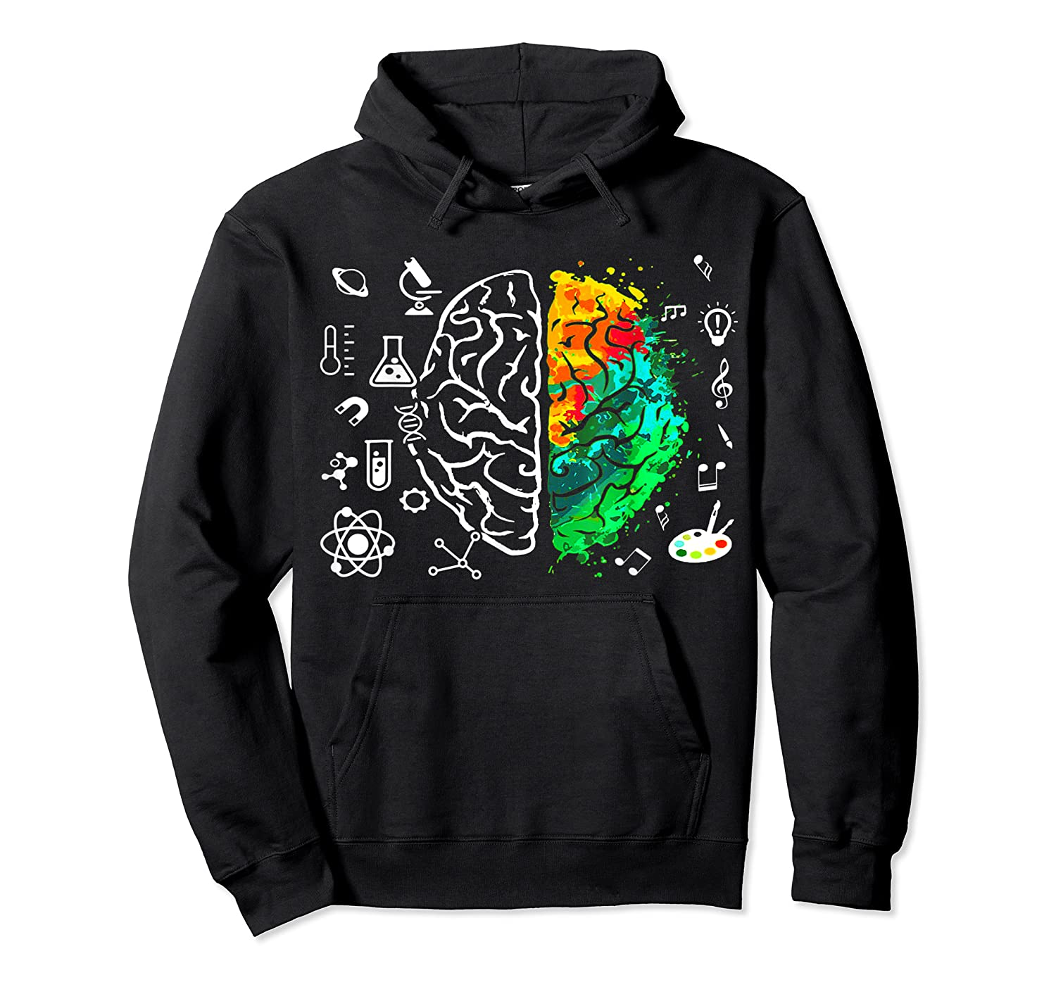 Colorful Brain Science And Art Love Science Art Gifts T Shirt Unisex Pullover Hoodie