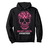 Breast Cancer Awareness Month Skull Halloween Shirts Hoodie Black
