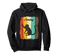 Monkey Shirt Retro 70s Vintage Animal Lover Art Design Tank Top Hoodie Black
