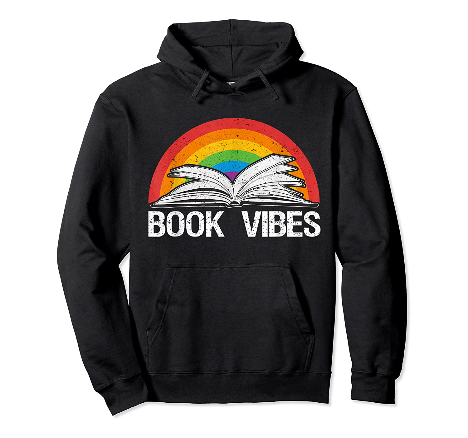 Vintage Retro Book Vibes Rainbow Gift For Reading Lovers T Shirt Unisex Pullover Hoodie
