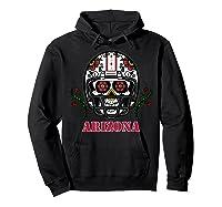 Arizona Football Helmet Sugar Skull Day Of The Dead T Shirt Hoodie Black