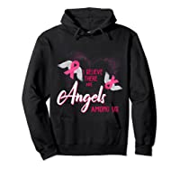 I Believe There Are Angels Among Us Breast Cancer Awareness T Shirt Hoodie Black