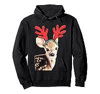 Cute Festive Fawn Wearing Reindeer Antlers Shirts Hoodie Black