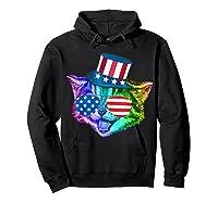 Ally Rainbow Cat Lesbian Gay Pride Gift America Flag Shirts Hoodie Black