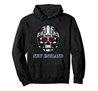 New England Football Helmet Sugar Skull Day Of The Dead T Shirt Hoodie Black