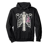 Skeleton Halloween Shirt Breast Cancer Awareness Month Tee Hoodie Black