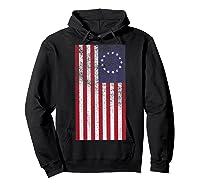 Vintage Retro Betsy Ross Shirt 4th Of July American Flag T Shirt Hoodie Black