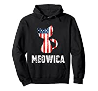 Patriotic 4th Of July Shirt Meowica American Flag Cat Lovers T-shirt Hoodie Black