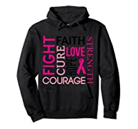 Pink Ribbon Breast Cancer Fighters Survivors Awareness Shirt T Shirt Hoodie Black