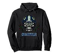 Seattle Football Helmet Sugar Skull Day Of The Dead T Shirt Hoodie Black