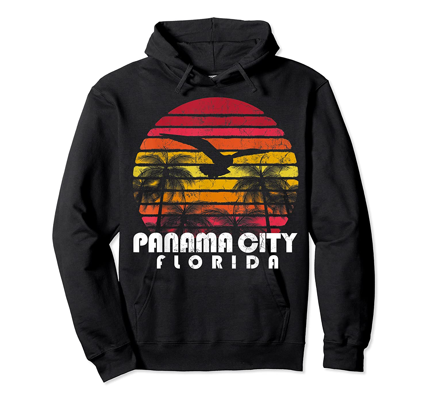 Vintage Retro Pa City Fl Florida Sunset Distressed Style T Shirt Unisex Pullover Hoodie