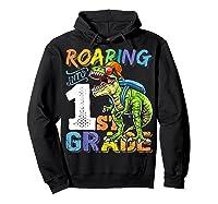 Roaring 1st Grade Dinosaur Back To School Backpack Shirt Boy Hoodie Black