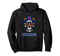 Chicago Football Helmet Sugar Skull Day Of The Dead T Shirt Hoodie Black