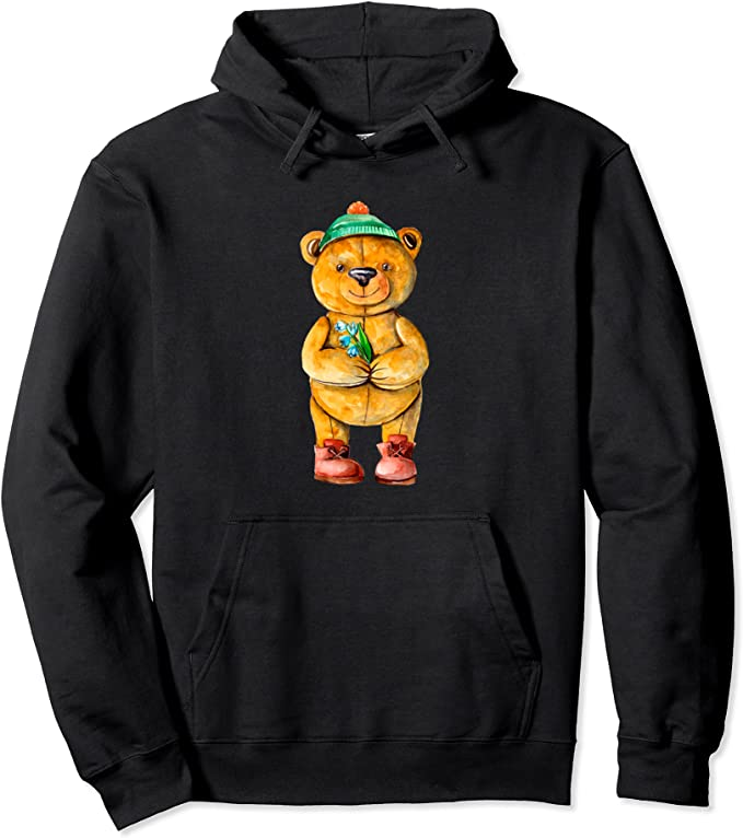 Amazon.com: Casual Watercolor Cute Tiddy Bear Pullover Hoodie: Clothing