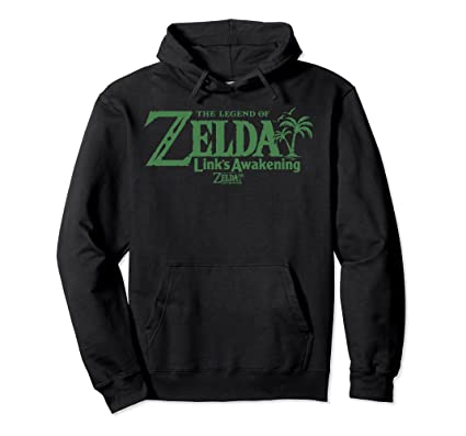 Legend Of Zelda Links Awakening Palm Tree Green Text Logo Pullover Hoodie