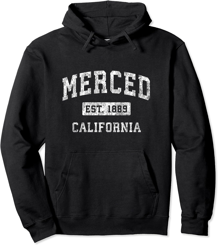 Merced San Antonio Mall California CA Vintage Established Pullover Sports Design Selling rankings