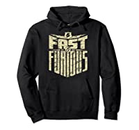 Fast Furious Distressed Lightning Bolt Word Stack Pullover Shirts Hoodie Black