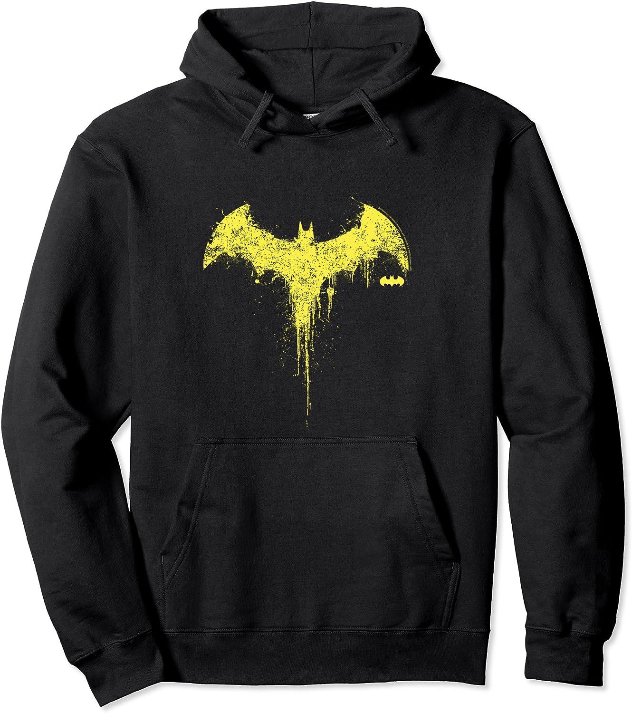 DC Max 84% OFF Fandome Batman Paint Splatter Hoodie Pullover Drip Fresno Mall Logo