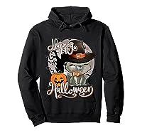 Happy Halloween Cute Cat In Witch Hat Pumpkin Spooky Novelty T Shirt Hoodie Black