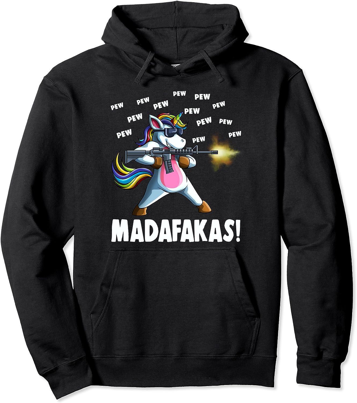 Funny Unicorn PewPewPew Madafakas Gift Pew Crazy Detroit Free shipping Mall Pullove