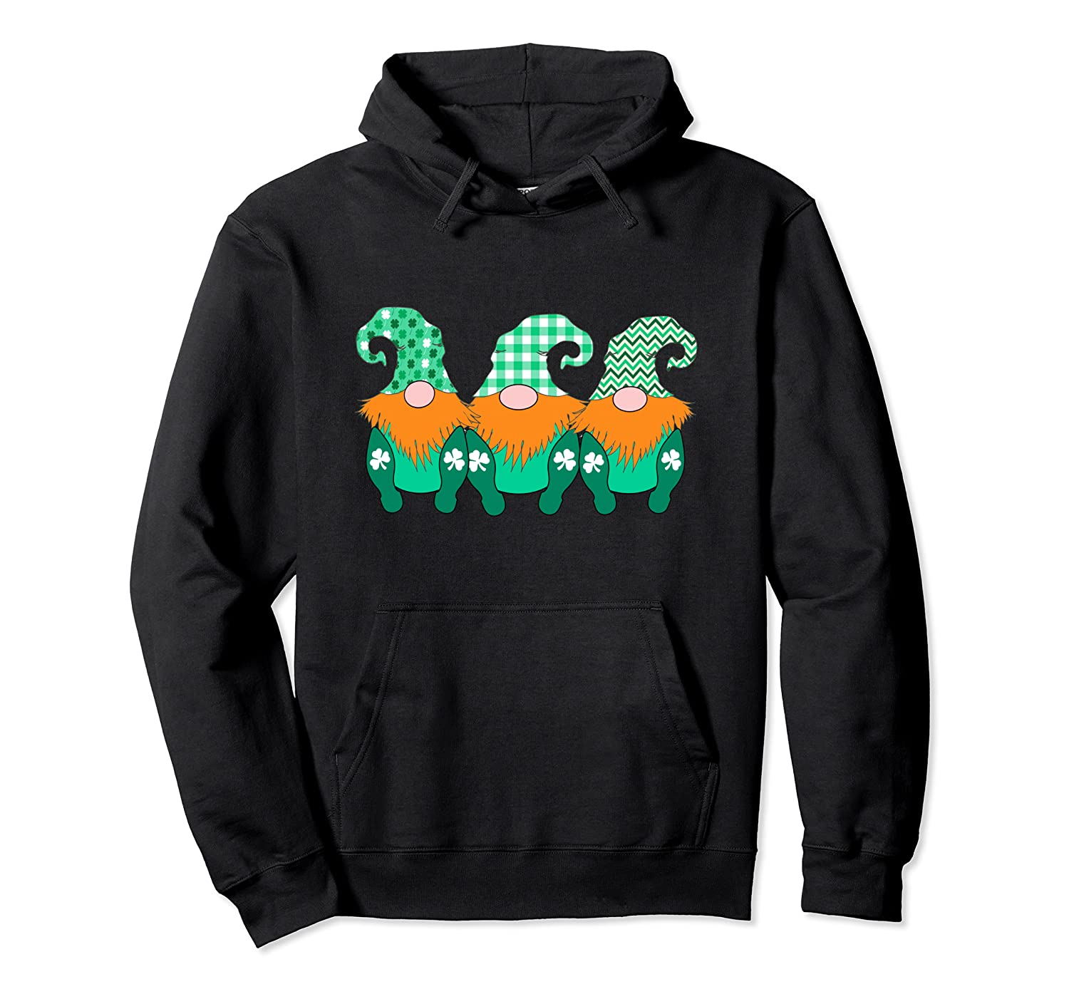 3 Cute Irish Gnomes Leprechauns Green Shamrocks Pullover Hoodie-Awarplus