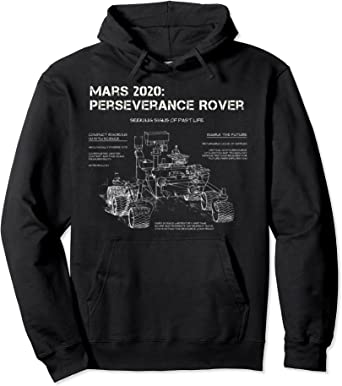Perseverance Rover Schematic Drawing Mars Mission Art Image Sweat à Capuche