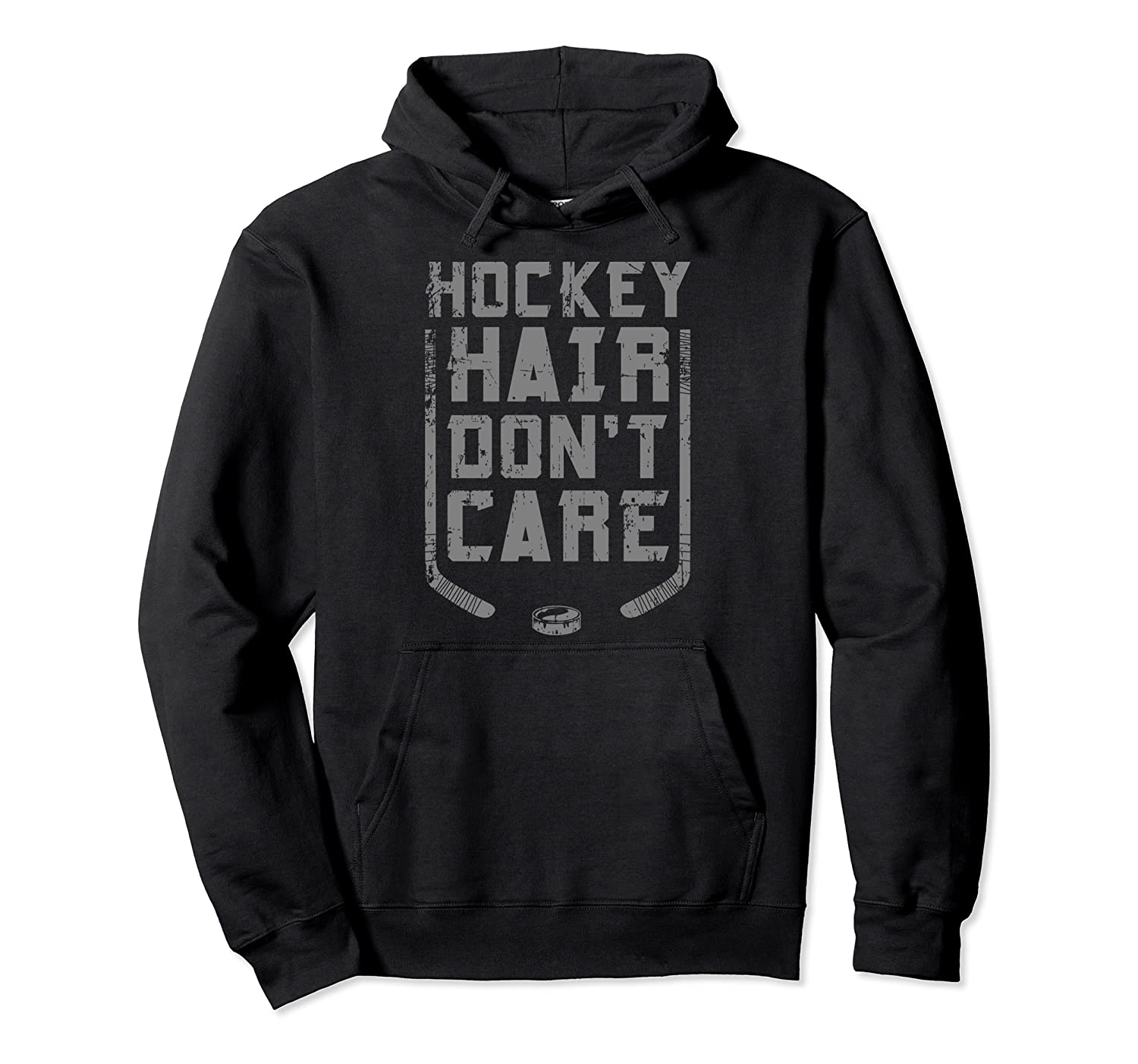 Hockey Hair Don't Care Ice Puck Player For Women Girls Gifts Pullover Hoodie