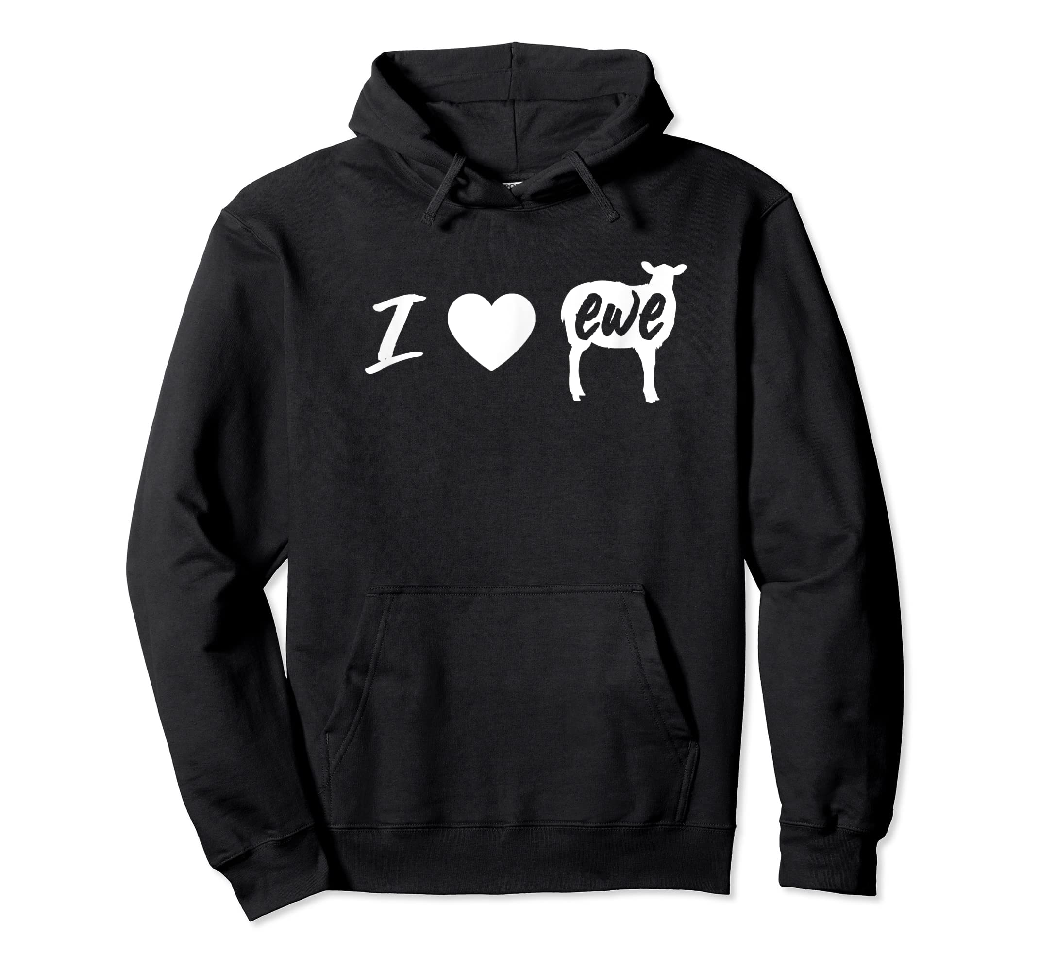 I Love Ewe - I Love You Sheep Pun Shirt-Hoodie-Black