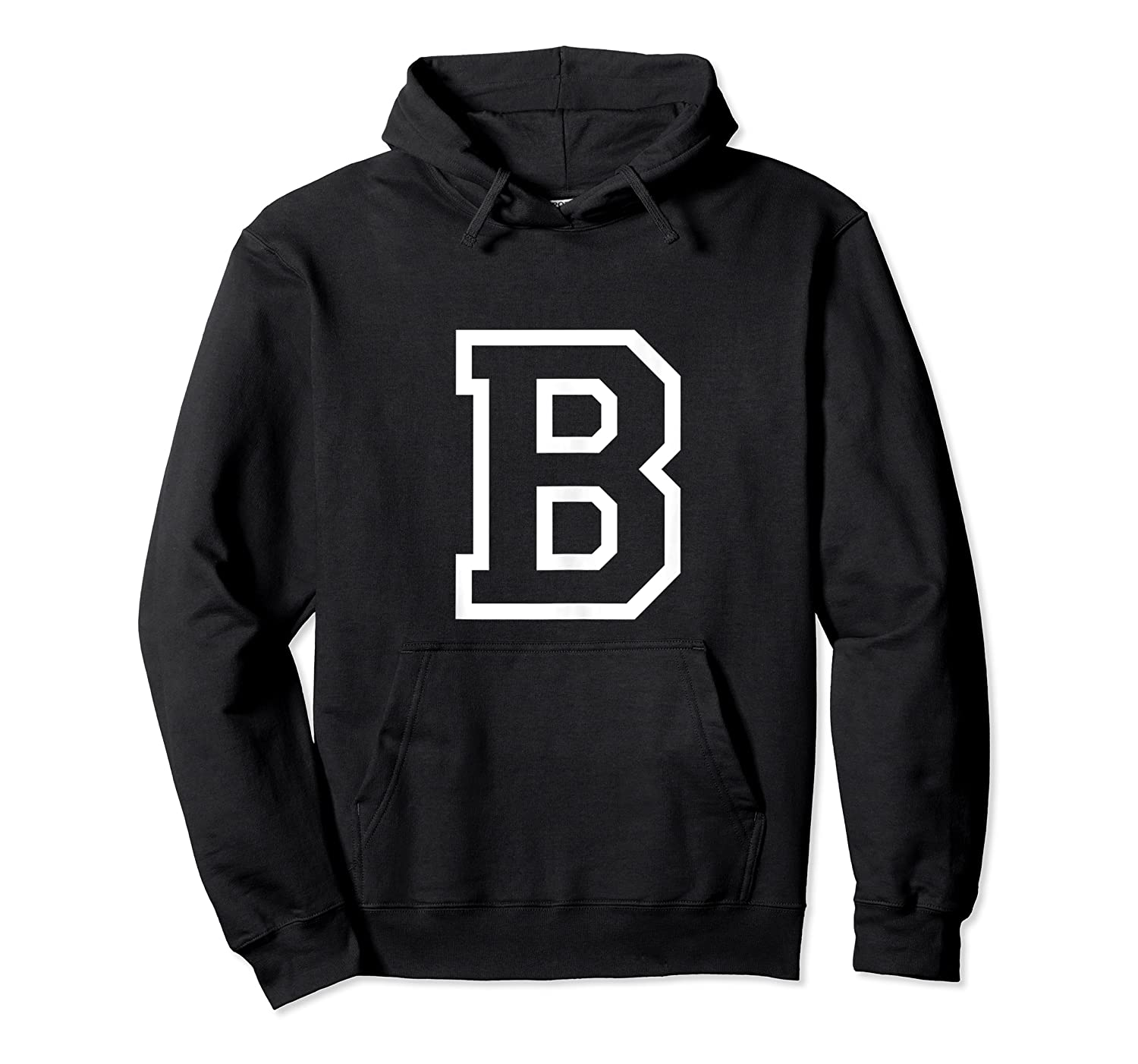 Letter B Alphabet Name Athletic Sports Monogram Outline Shirts Unisex Pullover Hoodie