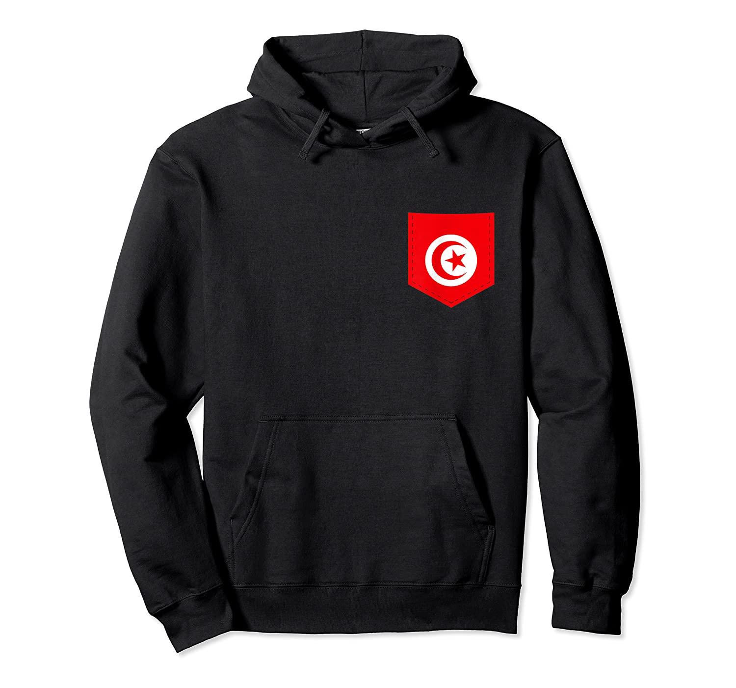 Tunisia Flag T-shirt With Printed Tunisian Flag Pocket Unisex Pullover Hoodie