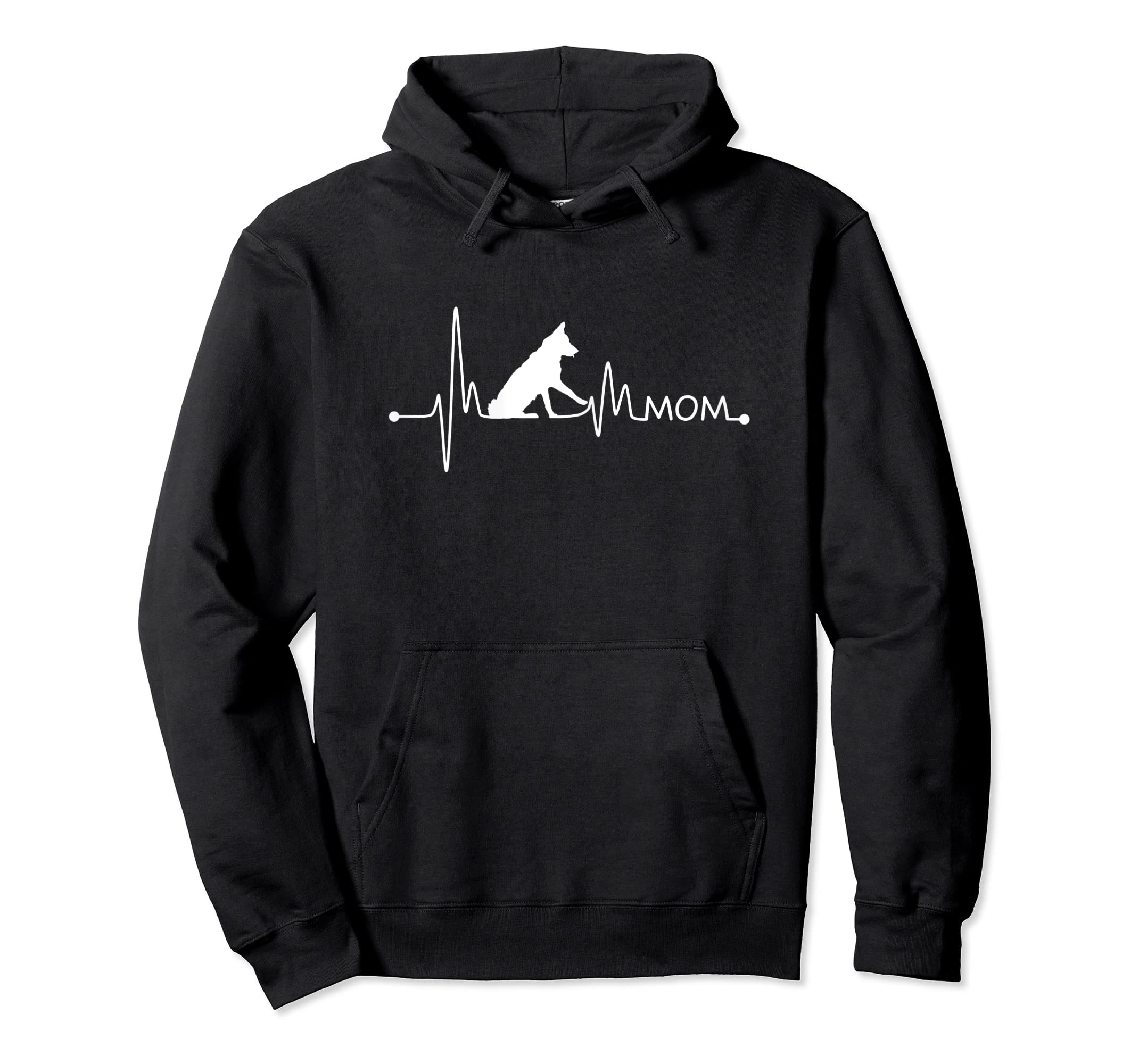 Womens Border Collie Heartbeat Mom Shirt Ekg Pulse Collie Lover Tee-Hoodie-Black