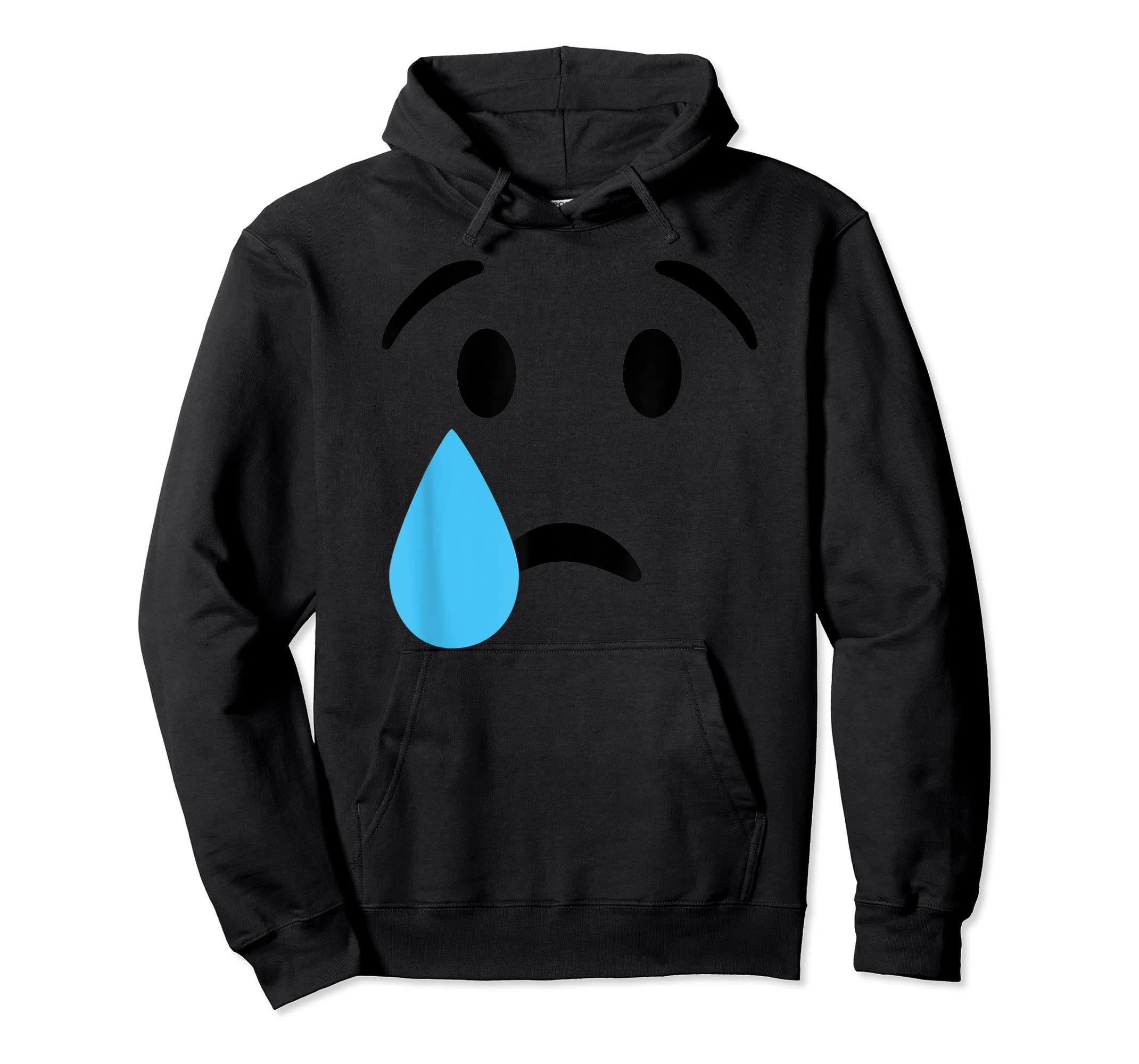 Sad Crying Tear Eyes Face Emojis Emoticon Halloween Costume T-Shirt-Hoodie-Black